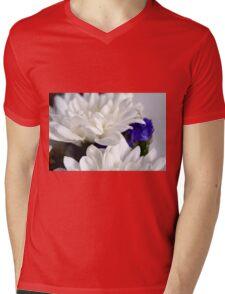 White flowers macro, natural background. Mens V-Neck T-Shirt