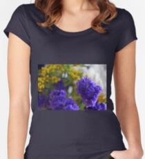 Purple flowers, nature background. Women's Fitted Scoop T-Shirt