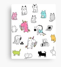 Cats. Dinosaurs. Unicorn. Sticker set. Canvas Print