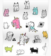 Cats. Dinosaurs. Unicorn. Sticker set. Poster
