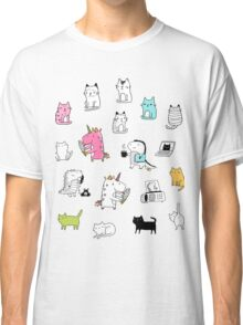 Cats. Dinosaurs. Unicorn. Sticker set. Classic T-Shirt