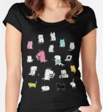 Cats. Dinosaurs. Unicorn. Sticker set. Women's Fitted Scoop T-Shirt