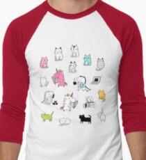 Cats. Dinosaurs. Unicorn. Sticker set. Men's Baseball ¾ T-Shirt