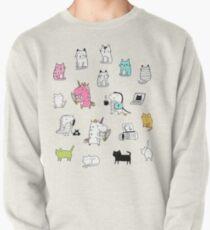 Cats. Dinosaurs. Unicorn. Sticker set. Pullover