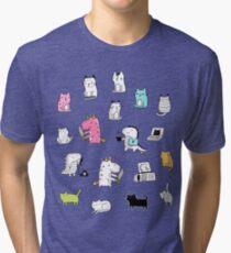 Cats. Dinosaurs. Unicorn. Sticker set. Tri-blend T-Shirt