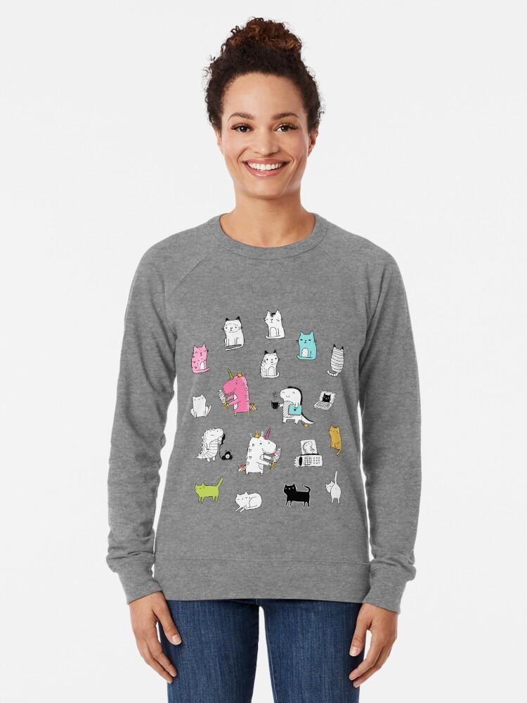 Alternate view of Cats. Dinosaurs. Unicorn. Sticker set. Lightweight Sweatshirt