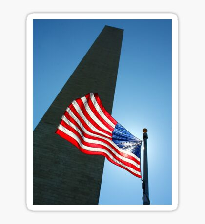 Washington Monument and Flag Sticker