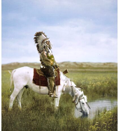 """""""An Oasis in the Badlands"""", Red Hawk, ca. 1905 Sticker"""