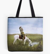 """""""An Oasis in the Badlands"""", Red Hawk, ca. 1905 Tote Bag"""