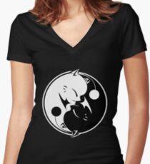 Final Fantasy - Yin Yang Mog Women's Fitted V-Neck T-Shirt