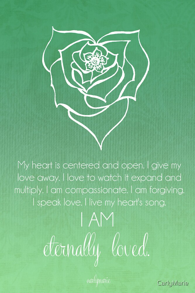 12192618 Heart Chakra Affirmation on Green Spiral Symbol