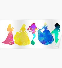 Princesses Inspired Silhouette Poster