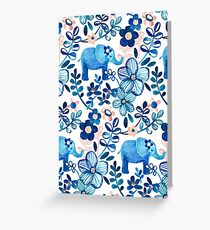 Blush Pink, White and Blue Elephant and Floral Watercolor Pattern Greeting Card