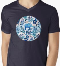 Blush Pink, White and Blue Elephant and Floral Watercolor Pattern Men's V-Neck T-Shirt