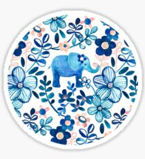 Blush Pink, White and Blue Elephant and Floral Watercolor Pattern Sticker