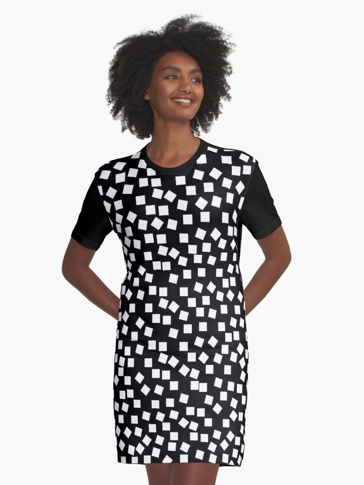 Night Sky - Black & White Graphic T-Shirt Dress Front