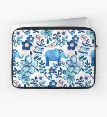 Blush Pink, White and Blue Elephant and Floral Watercolor Pattern Laptop Sleeve