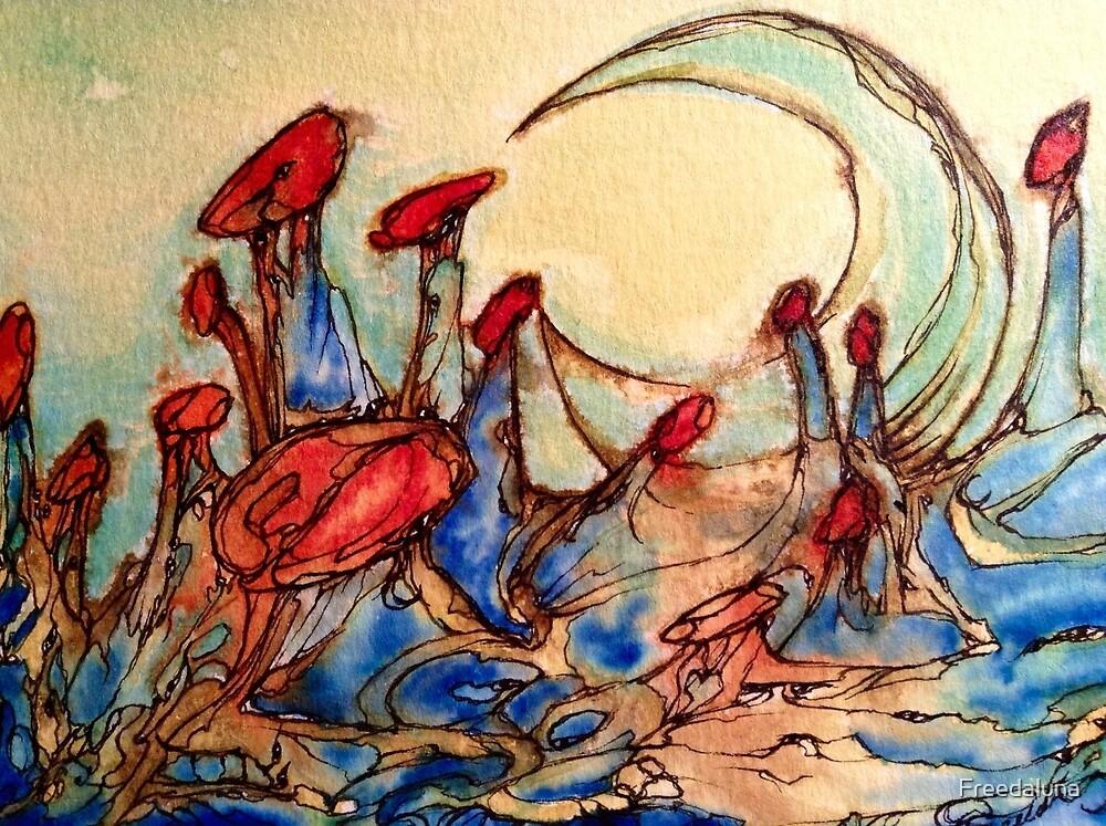 Mushroom Lit Moon by Freedaluna