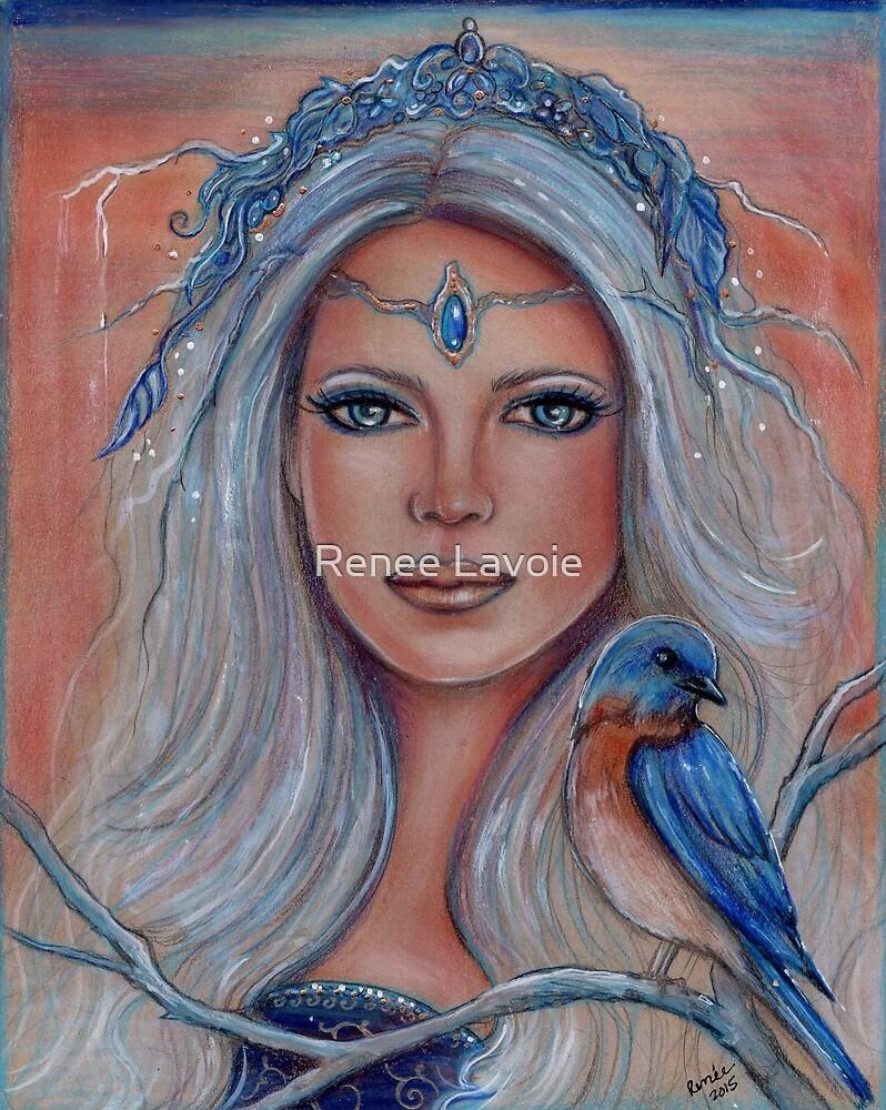 Blue bird fay fantasy art portrait by Renee Lavoie by Renee Lavoie