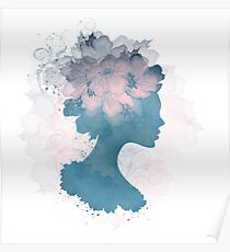 Beautiful Silhouette Floral Woman Poster