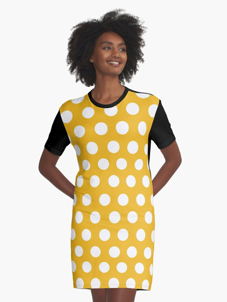 Yellow Mustard Color Polka Dots Pattern Design Template Graphic T-Shirt Dress Front