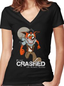 Crashed Women's Fitted V-Neck T-Shirt