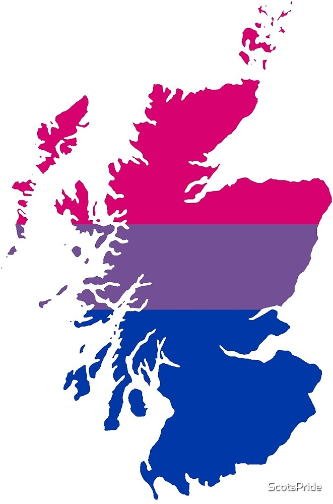 Bisexual Pride Map of Scotland by ScotsPride