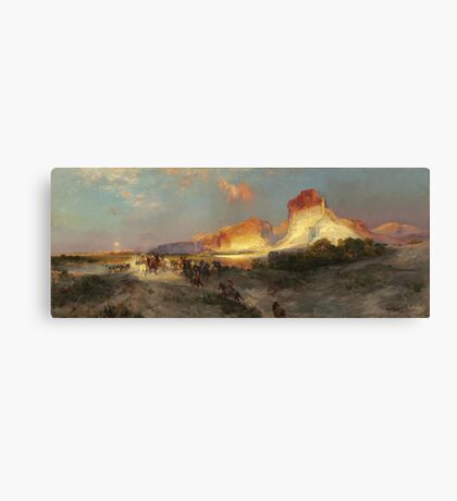 Thomas Moran - Green River Cliffs, Wyoming. Mountains landscape: mountains, rocks, rocky nature, sky and clouds, trees, peak, forest, Canyon, hill, travel, hillside Canvas Print