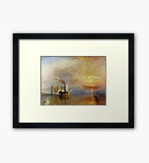 The Fighting Temeraire, 1839, by Joseph Mallord William Turner. on White Framed Print
