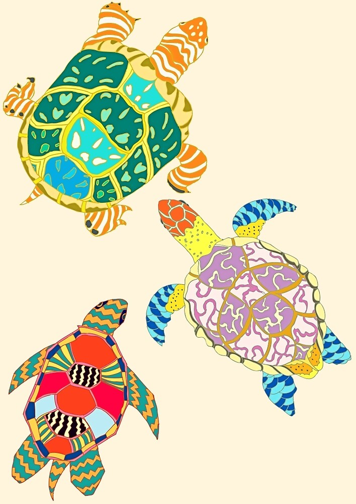 Turtle Family by minniemorrisart