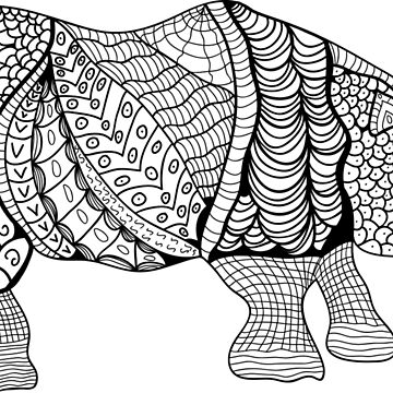 Rhinoceros. Hand-drawn Rhino with ethnic floral doodle pattern. Coloring book page - zendala, design for meditation for adults, vector illustration, isolated on a white background. Zen doodles. by dasha122007