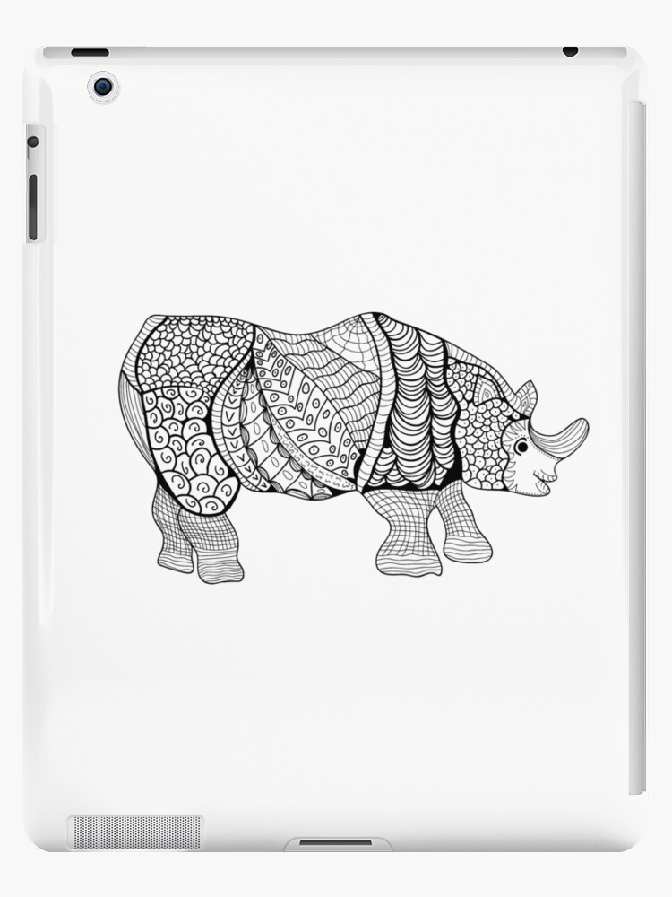 Coloriage En Ligne Rhinoceros.Coque Et Skin Adhesive Ipad Rhinoceros Rhino Dessine A La Main Avec Motif Floral Ethnique Doodle Page De Livre A Colorier Zendala Conception