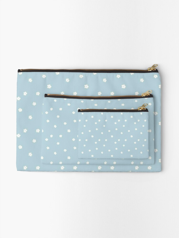 Alternate view of Elderflowers on baby blue, sparse Zipper Pouch