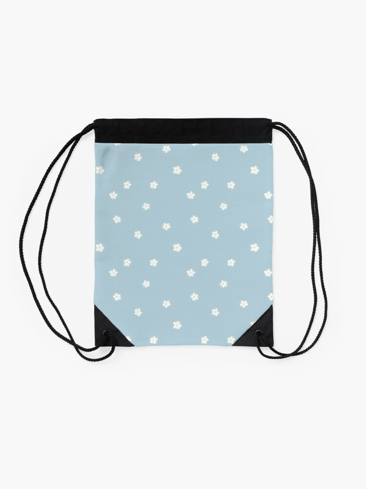 Alternate view of Elderflowers on baby blue, sparse Drawstring Bag