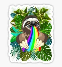 Sloth Spitting Rainbow Colors Sticker