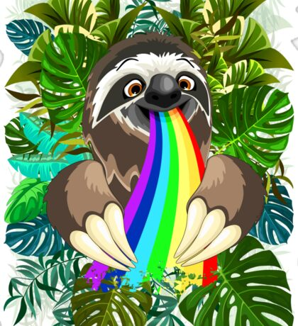 Sloth Spitting Rainbow Colors Sticker
