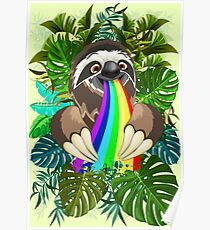 Sloth Spitting Rainbow Colors Poster