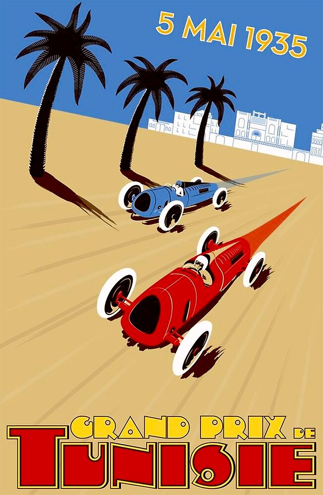 """TUNISIE GRAND PRIX"" Automobile Race Print by posterbobs"