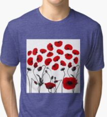 Modern Black and Red Flowers and Petals Tri-blend T-Shirt