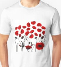 Modern Black and Red Flowers and Petals T-Shirt