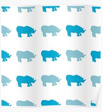 Seamless African Rhinoceros Background. Animal Pattern Poster