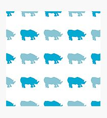 Seamless African Rhinoceros Background. Animal Pattern Photographic Print