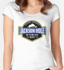 JACKSON HOLE WYOMING Mountain Skiing Ski Snowboard Snowboarding 4 Women's Fitted Scoop T-Shirt