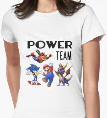 Gaming Power Team: Mario, Crash, Spyro, Sonic Womens Fitted T-Shirt