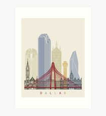 Dallas skyline poster Art Print