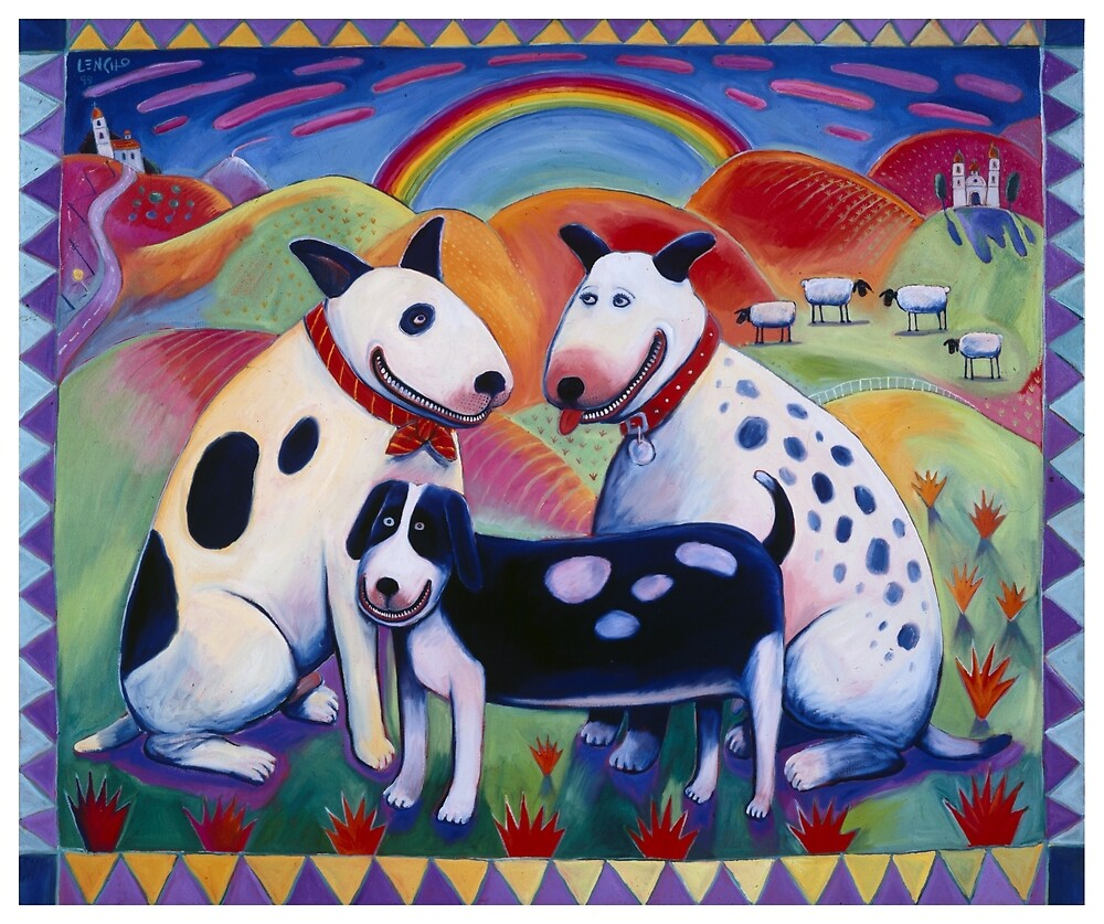 3 Dogs with Rainbow by Lencho