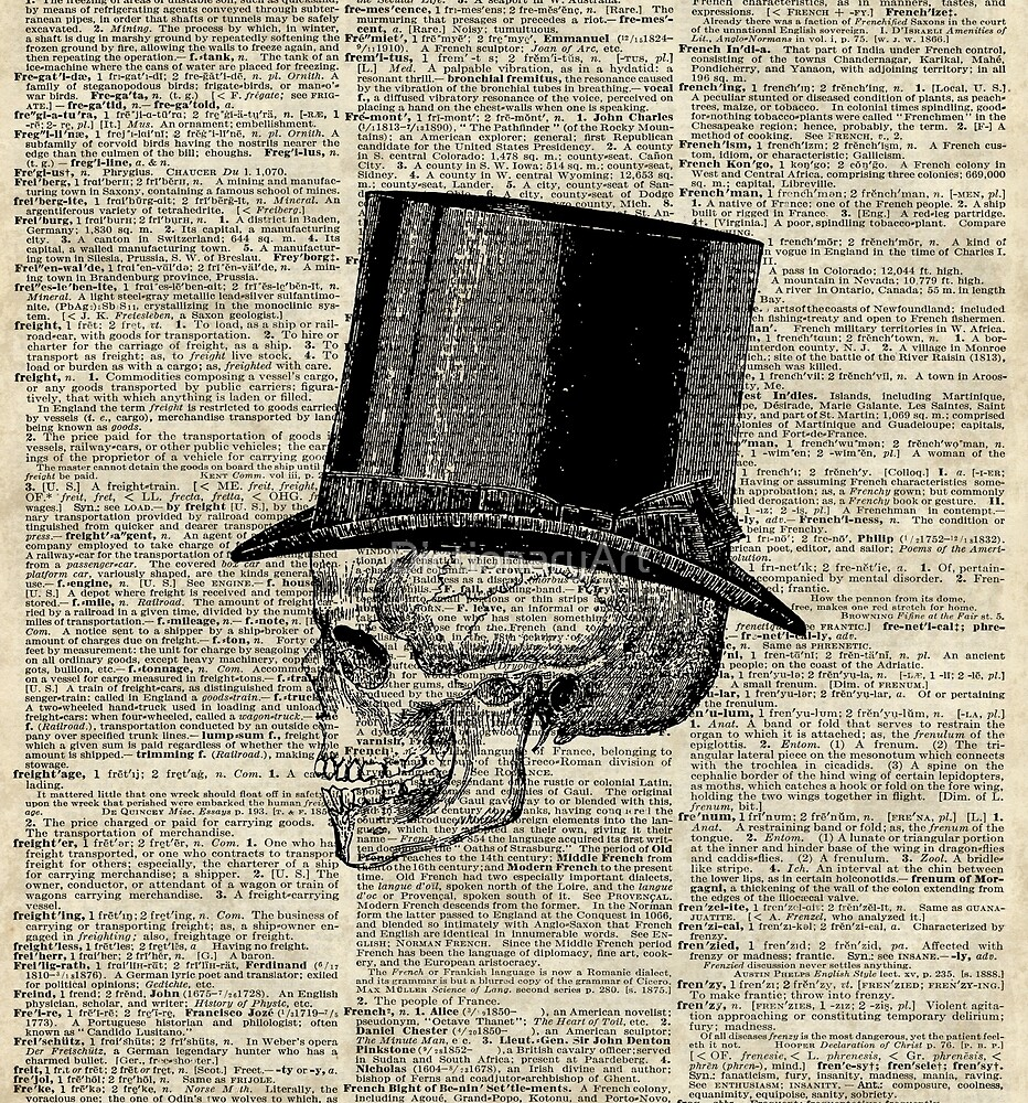 Death Skull with Victorian Hat by DictionaryArt