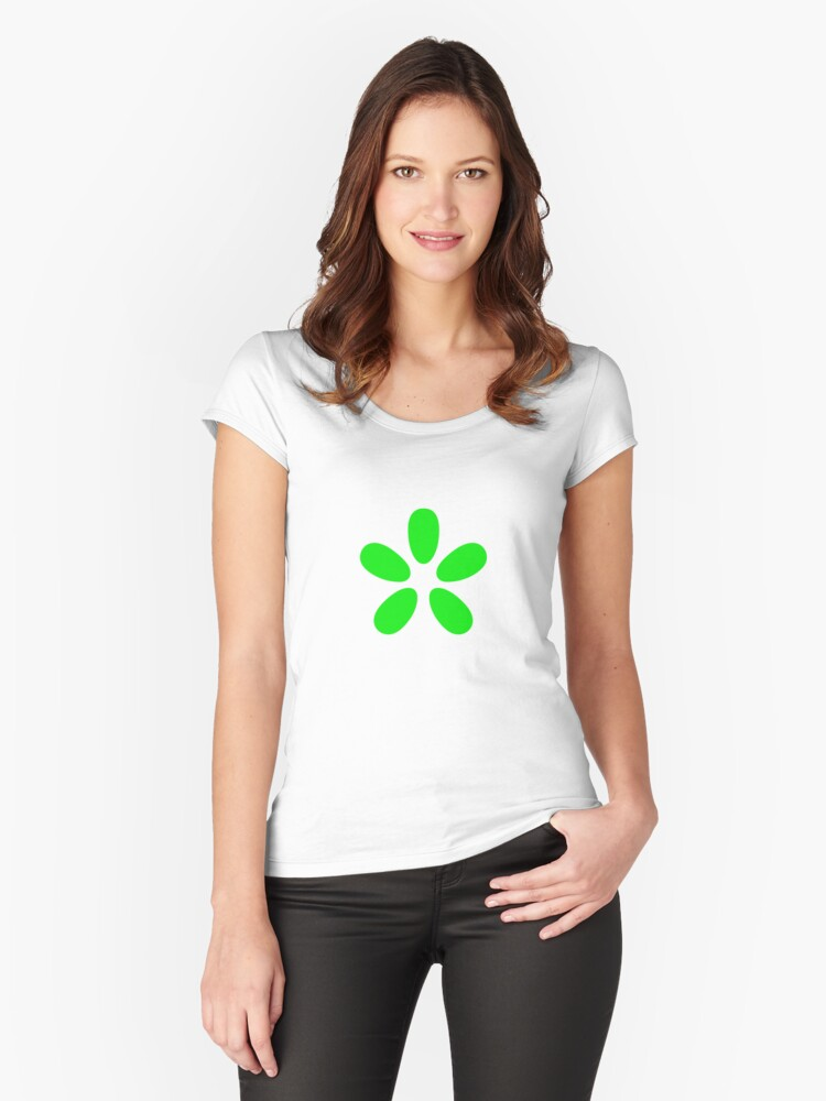 Green Flower Women's Fitted Scoop T-Shirt Front