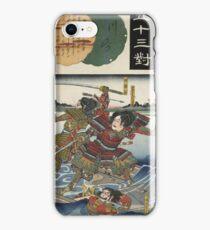 Utagawa Kunisada - Kawasaki Nitta Yoshioki. Man portrait: man,  samurai ,  hero,  costume,  kimono,  tattoos ,  sport,  sumo, manly, sexy men, macho iPhone Case/Skin