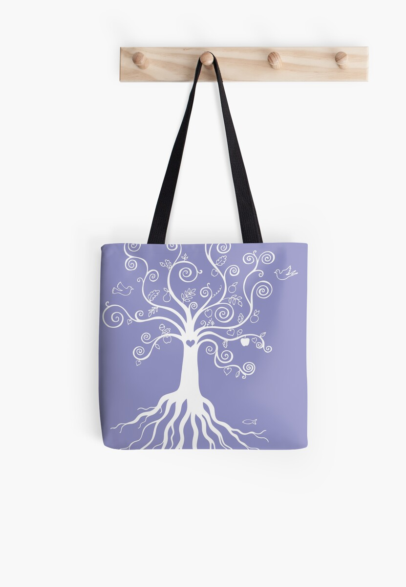 Tree of Life - white on pale blue by Cecca Designs by Cecca-Designs